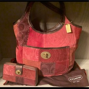 Coach Ltd Ed Ergo Tote Red Patchwork Leather Suede